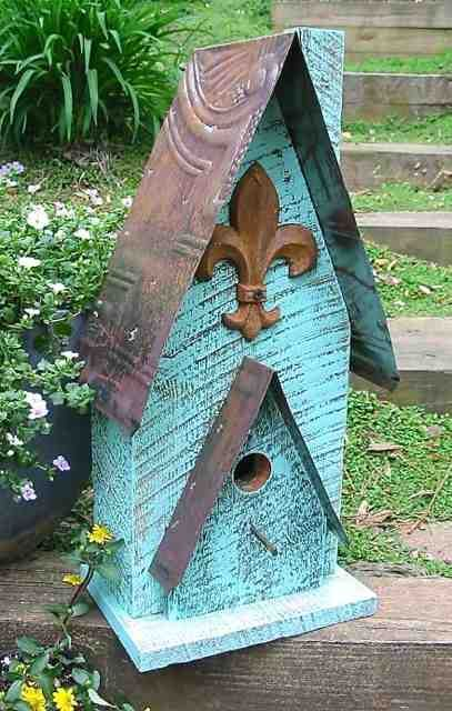 Barn Wood & Patterned Tin Birdhouse
