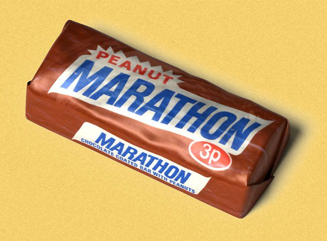 Marathon (1968) Marathon came to the UK courtesy of Forrest Mars Sr, estranged from the family business in the States, but free to adapt the recipes for European tastes. Aside from his eponymous bar packed with milk, sugar, glucose, and thick, thick chocolate, Mars' Slough-produced cash cow was a peanut-powered derivative of the American Snickers (the name was apparently tribute to the Mars family's favourite horse)  'brand alignment' saw Marathon adopt its maiden name in 1990