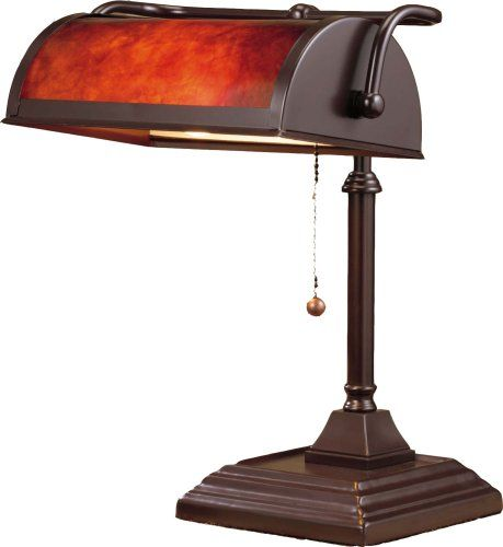 Normande Lighting BL1 103 60 Watt Bankeru0027s Lamp With Mica Shade