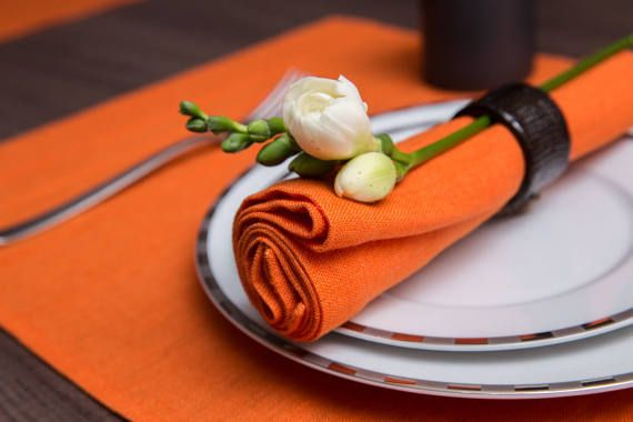 Orange dinner set of 2 placemats with pintucks  2 by MargoMarlin
