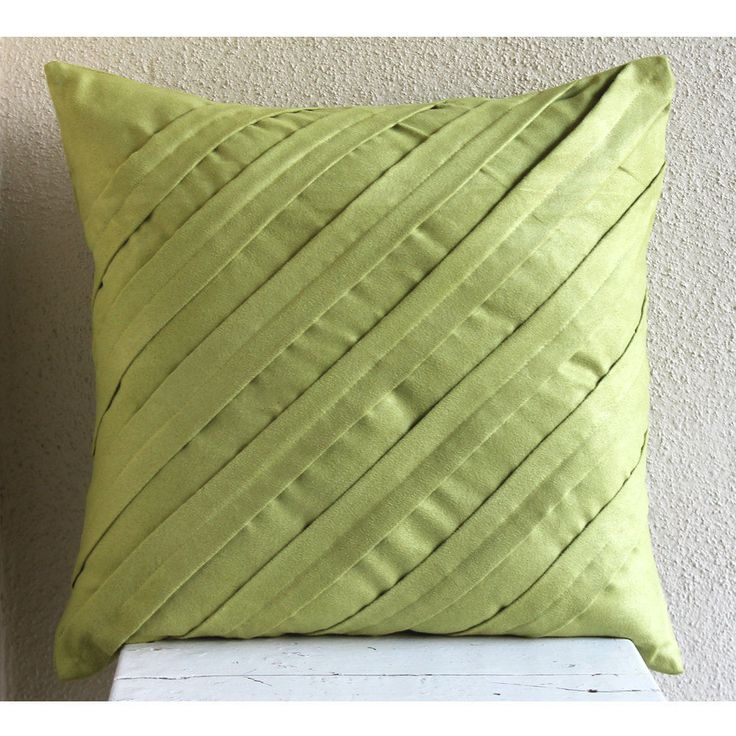 Green Faux Suede 16X16 Textured Pintucks Pillow Cases - Contemporary Apple Green