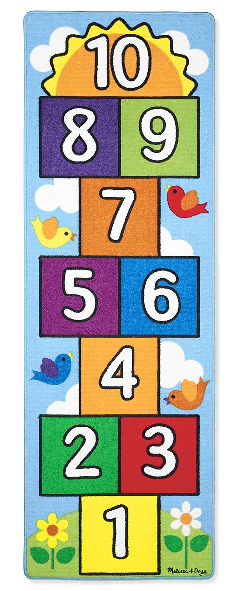 Indoor or Outdoor Hop & Count Hopscotch Rug: A classic game takes a leap forward with this colorful, high quality hopscotch game set! Featuring cheerful birds, fluffy clouds, and a rainbow of colors, this hopscotch rug offers lots of ways to learn and play. Reinforced border binding prevents fraying. Two colorful beanbag play pieces included. Durable rug material is stain-resistant and washable. Skid-proof backing is safe on all floor surfaces and works for indoor and outdoor use.