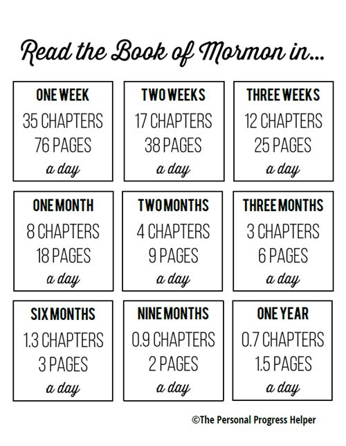 The Book of Mormon Goal Setting Chart in Black & White