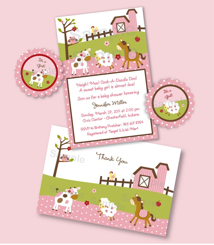 Pink Girl Farm Animal Barnyard Baby Shower Printable Party Pack Invitation Thank You Toppers & More. $20.00, via Etsy.