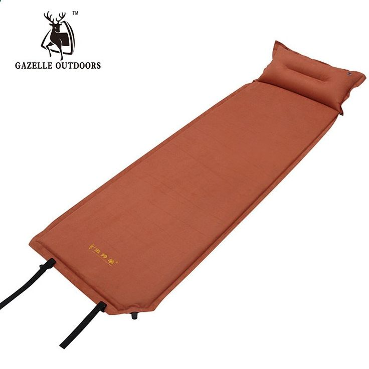 Camping Mats - 47.99$ Buy here - GAZELLE OUTDOORS Warm Suede Camping Mat Tourism Folding Tent Bed Inflatable Mattress With Pillow Self-inflating Tourist Rug