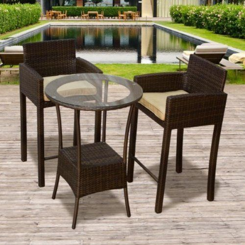 "3 Piece Outdoor Wicker Patio Bar Chair Barstool w/ Cushion Set by TK Classics. $732.00. Our Contemporary Barstool is a perfect fit for your indoor and outdoor design needs. All-weather indoor/outdoor resin wicker in espresso. (2) Outdoor Wicker Patio Barstools - 22""W x 20""D x 43""H (1) Outdoor Wicker Patio Bar Table - 27.5"" Dia. X 39.5""H. Rust resistant Powder Coated Aluminum Frame for maximum durability. High Density PE (polyethylene) recyclable espresso wicker -..."