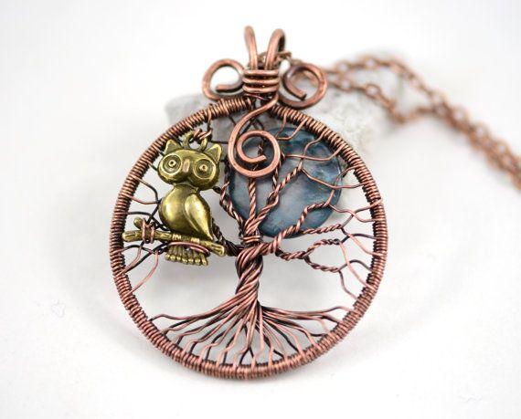 Night Owl boom-Of-Life tegenhanger koperdraad Wrapped Hanger Wired koperen sieraden Wire Wrapped boom-Of-Life uil hanger rustieke ketting Unisex