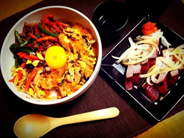 ビビンバ丼 鰤のもみじおろしポン酢