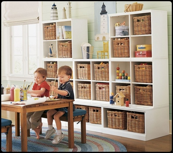 Basket storage looks neat....however, the baskets need labels to prevent pulling them all out in search of one hidden item.Playrooms Storage, Organic, Kids Playrooms, Kids Room, Room Storage, Plays Room, Pottery Barn, Storage Ideas, Toys Room