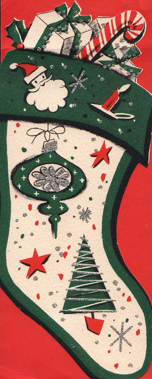 Vintage Christmas Card....I would love to find a stocking like this!!