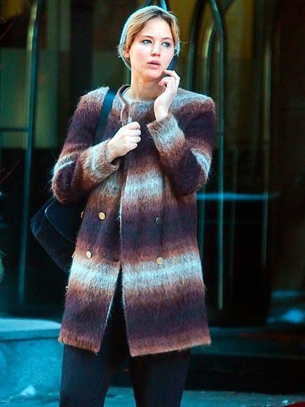 BAFTA winner (and Mystique actress) Jennifer Lawrence braves the Canadian cold in a warm, wooly jacket en route to the Montreal set of X-Men: Days of Future Past. http://www.people.com/people/gallery/0,,20787889,00.html#30104623