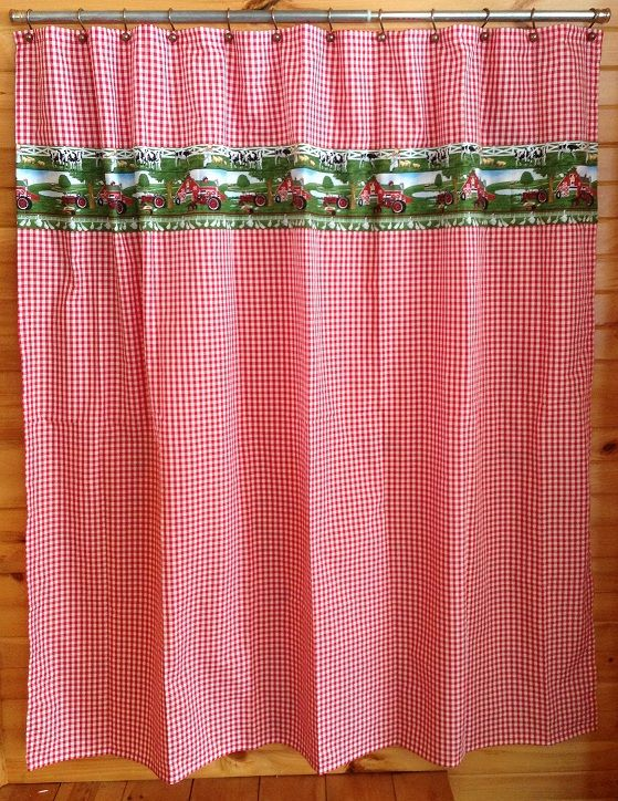 Tractor Shower Curtain : Red gingham farmall shower curtain j d board pinterest