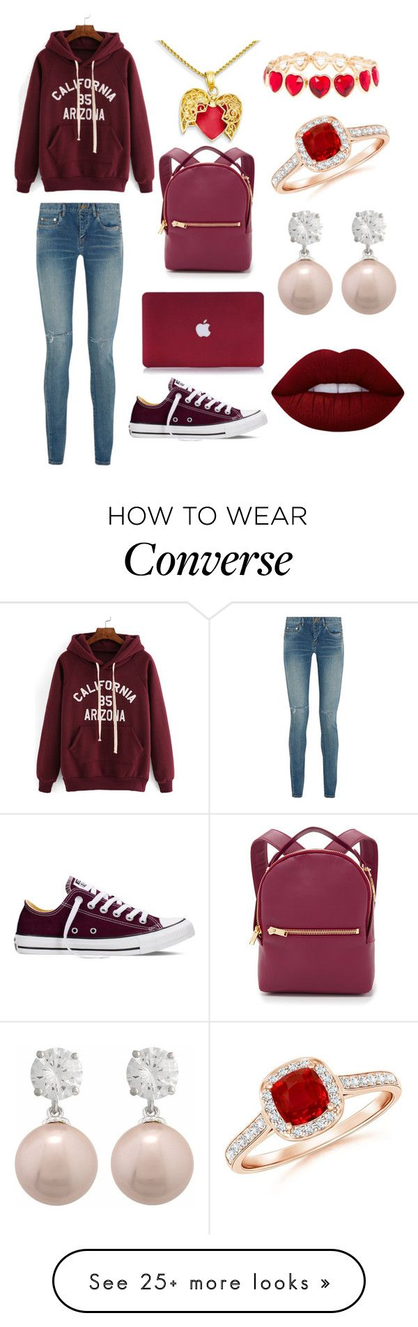 """""""Untitled #1"""" by parisbrown04 on Polyvore featuring Converse, Sophie Hulme, Yves Saint Laurent, claire's and Lime Crime"""