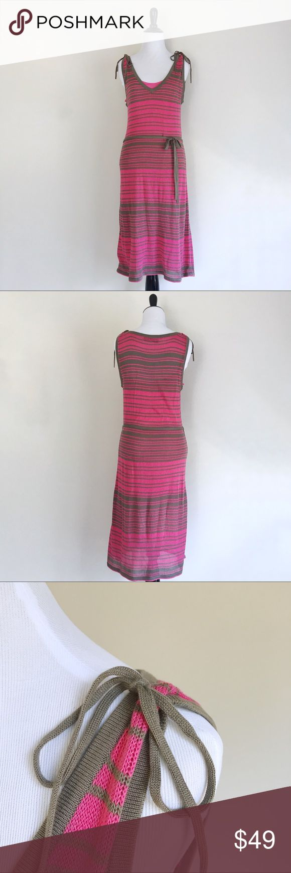 "❥ Trina Turk Knit Dress Trina Turk knit dress. Lined with solid pink inner slip. Ties on shoulders and waist.   🔸Size: M 🔸Color: Pink and brown stripes 🔸Condition: Great, worn a few times 🔸16.5"" bust, 42"" length measured flat 🔹Instagram: Missoh_J Trina Turk Dresses Maxi"