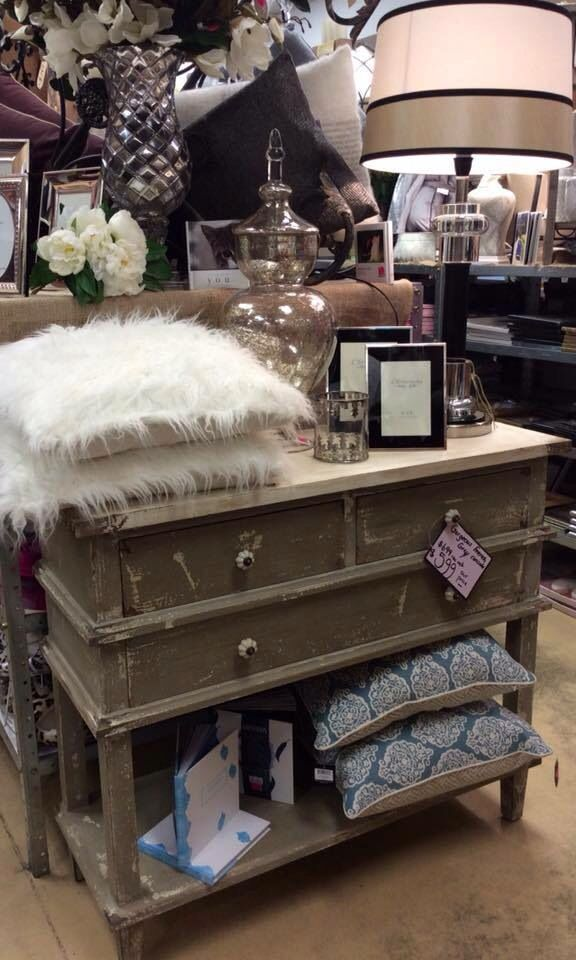 New in store gorgeous French grey console... SHOP today or Call the store for pricing 8387-8899