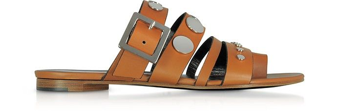 PIERRE HARDY | Camel Leather Flat Sandals w/Studs #Shoes #PIERRE HARDY