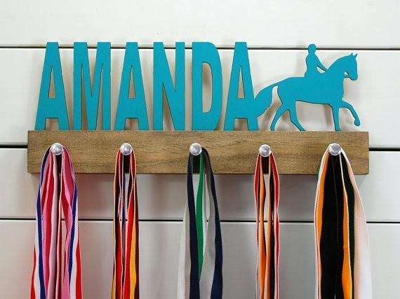 Many Colour Choices Includes Fixings Personalised Horse Riding Medal Hanger