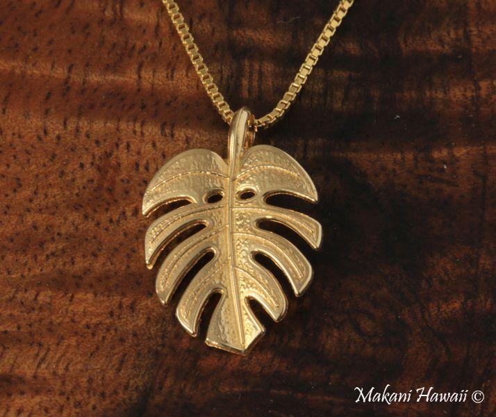 Monstera Leaf Pendant 14k Yellow Gold - Makani Hawaii,Hawaiian Heirloom Jewelry Wholesaler and Manufacturer
