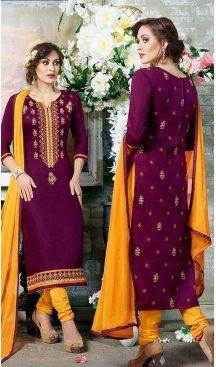 Purple Color Cotton Embroidery Casual Salwar Kameez | FH582385878 Follow us @heenastyle #casualwaer #designersuits #salwarkameez #anarkalis #indiandesigner #desifashion #bollywoodstyle #salwar #chudidar #indianfashion #traditional #beauty #desicouture #pakistani #pakistaniwedding #pakistanibride #southindian #couture #cottonsalwarkameez #embroiderysalwarkameez #straightcutsalwarkameez #churidarkameez #churidarsuits #churidardresses #casualsalwarkameez #casualdresses #casualsuits #heenastyle