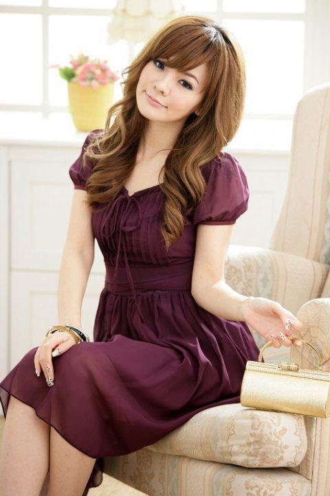 Modest purple dress.