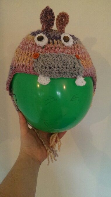 Hippo Hat I crocheted for charity.