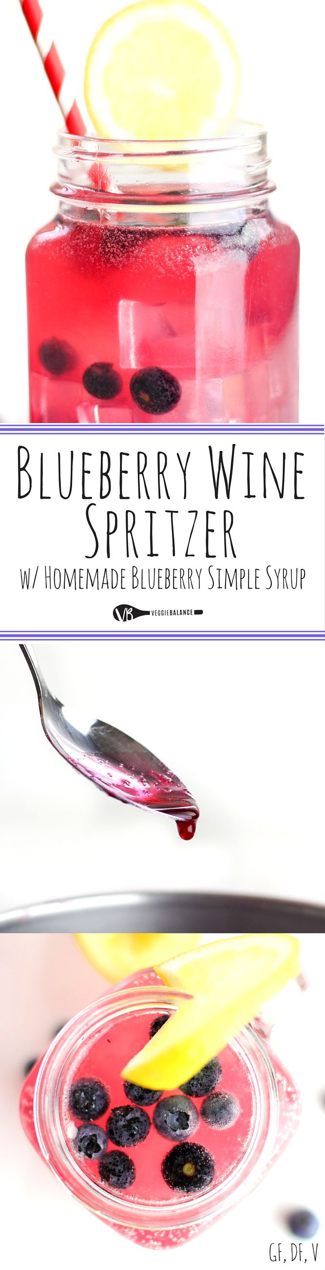 Wine Spritzer recipe with blueberries, taking summer drinks to the next level with a easy homemade blueberry simple syrup. Made in minutes, you have a refreshing drink to celebrate the summer. #CasalGarcia #ad