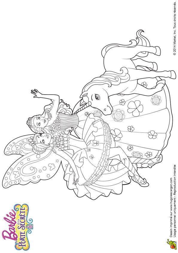 Les Barbies ensemble avec une licorne faisant au revoir à ses amis, illustration à colorier