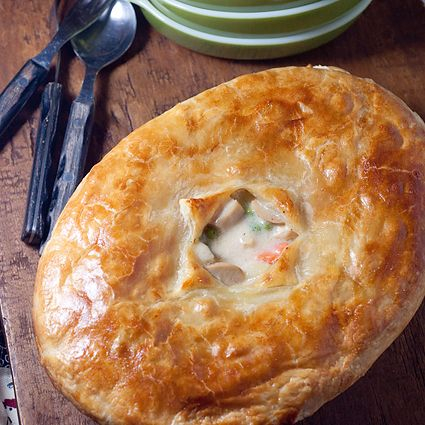 Classic chicken pot pie with a puff pastry crust.