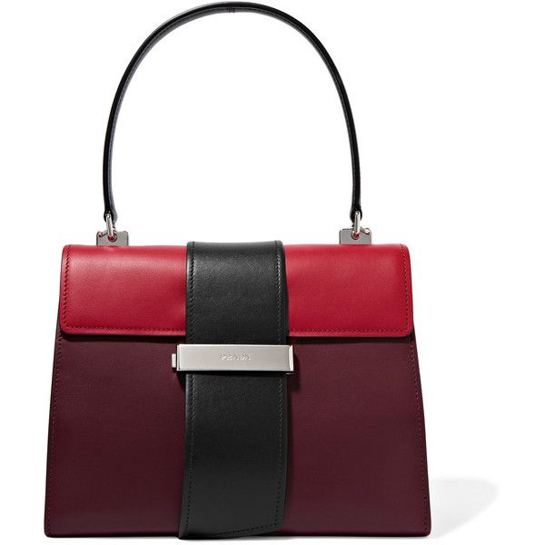 Prada Metal Ribbon color-block leather tote ($2,680) ❤ liked on Polyvore featuring bags, handbags, tote bags, burgundy, burgundy leather tote, genuine leather tote, white leather purse, leather handbag tote and leather purses