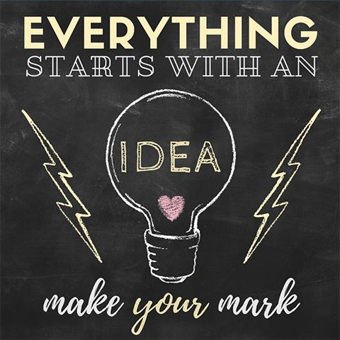 Easy DIY Great Idea inspirational quote social media template with a light bulb and lightning bolts. Created by ArtnerDluxe in Canva. Customize your own version @ https://www.canva.com/artnerdluxe. Art elements © ArtnerDluxe www.artnerdluxe.com