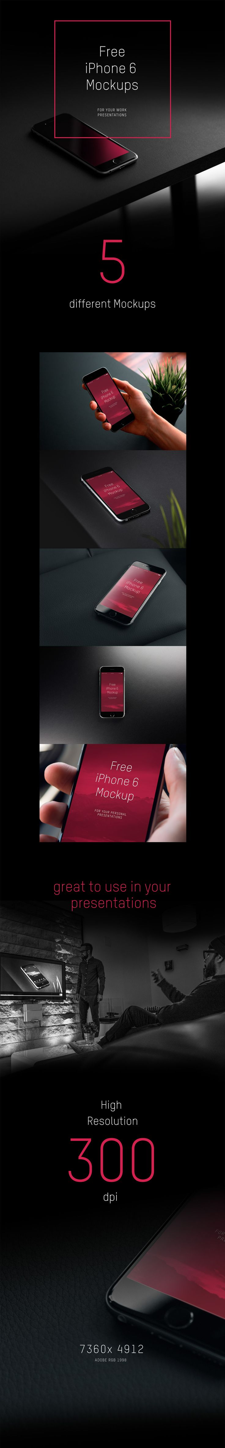 Free High-Res iPhone 6 Mockups for you.