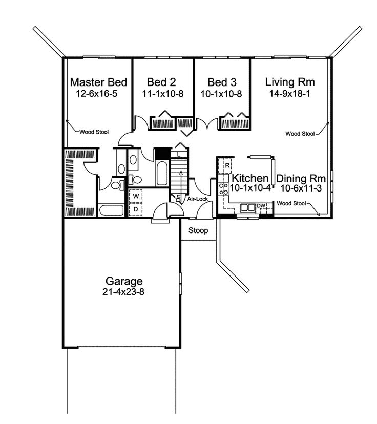 Berm Home Plan First Floor   008D 0023 | House Plans And More