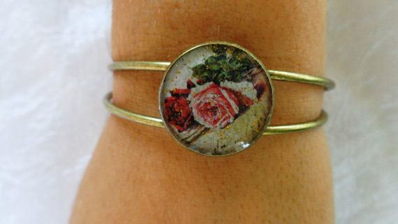 Wild Roses bangle Circle antique gold bracelet by ArtisticBreaths
