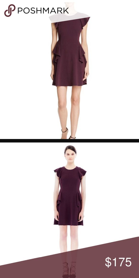 Rebecca Taylor dress This crepe fit and flare silhouette gets some feminine definition from flutter sleeves and angled ruffling along the body. Color 'vamp' is a beautiful deep purple color. Back zip. Lined. Rebecca Taylor Dresses