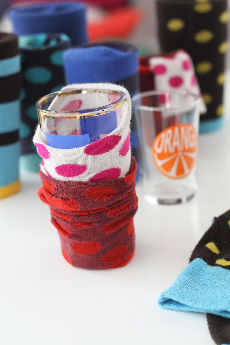 Use socks as packing material to protect glasses, and extra linens for other breakable dish ware. It'll save you money on bubble wrap and is more protective than newspaper.  Apartment Therapy | Moving Day Just Got 100x Easier With These Simple Tips & Hacks
