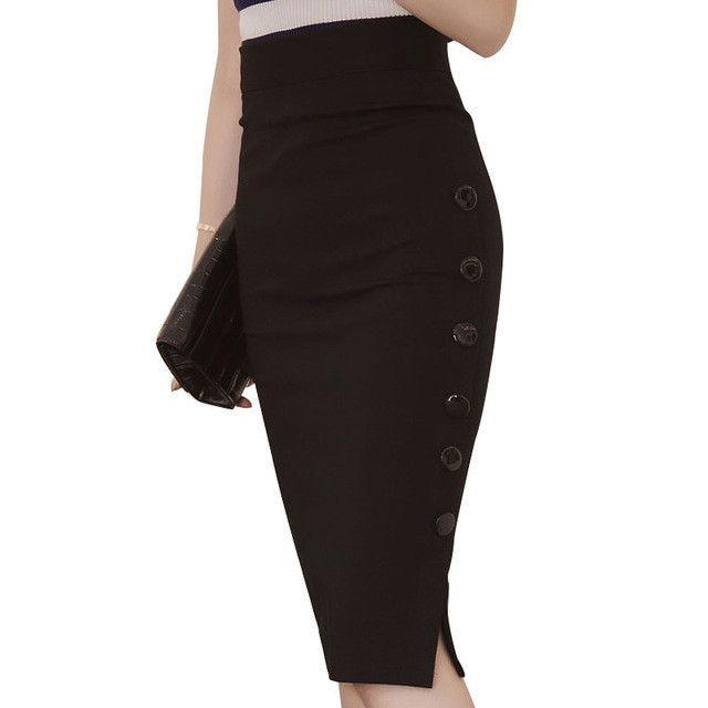 Elegant Office Skirt Sheath Women Work Skirt High Waist Bandage Hip Skirt Fork Open Slit Button Slim Pencil Skirt Popular Jupe