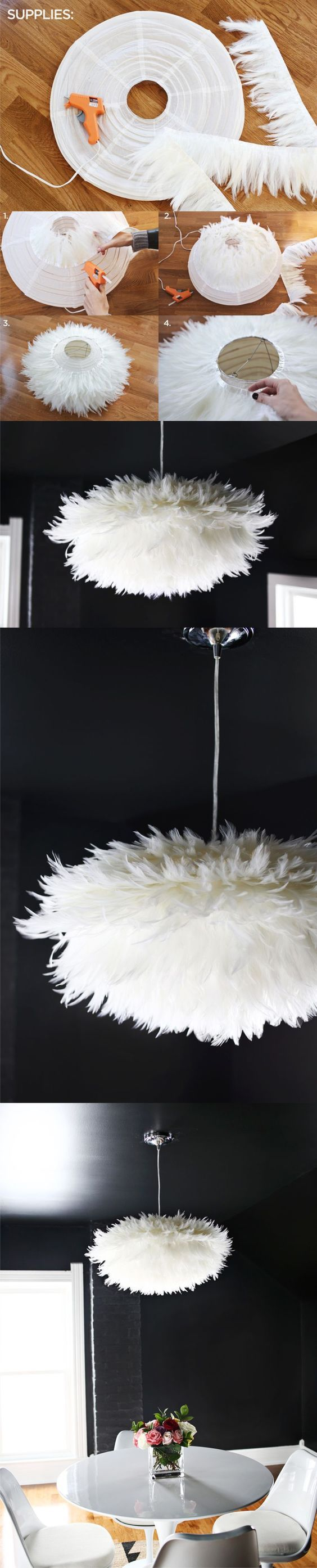 DIY Lamp with feathers. Great and stylish idea Loads of suitable feather trims for similar feather projects at http://www.thefeatherfactory.co.uk/categories/trims/14/: