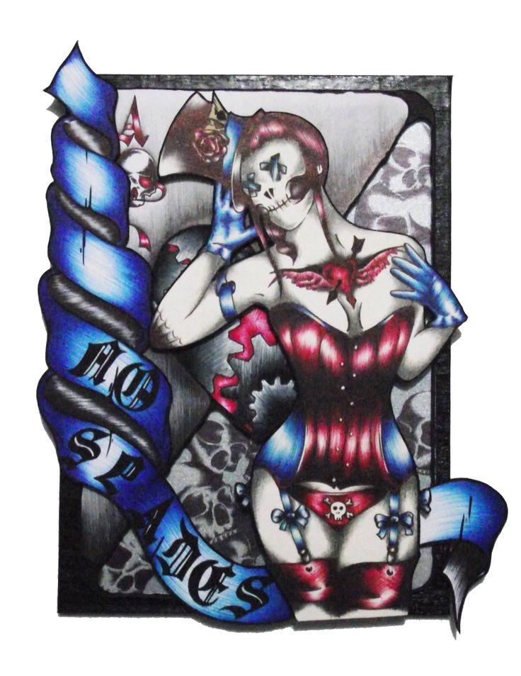 """""""No Spades"""" est un cadre de 13*18 cm composé par collage de différents éléments dessinés. Construit sur la carte de l'as de coeur, avec une dame de coeur des plus violente, """"No Spades"""" est une histoire de jeu sans pique."""