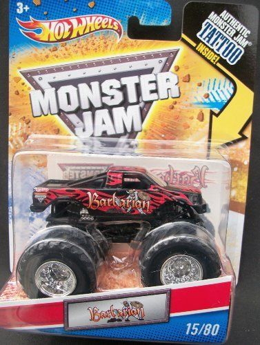 2011 Hot Wheels Monster Jam 1st Edition #15/80 BARBARIAN 1:64 Scale Collectible Truck with Monster Jam TATTOO by Mattel. $9.97. 2011 Production Year. 1st Edition. 1:64 Scale (Small Truck). Official Monster Jam Truck. Includes Authentic Monster Jam Tattoo. Crush the Competition with this 1:64 scale Hot Wheels truck! Die cast body and chassis mega monster tires & 4-wheel turning action. Let the dirt fly with these ground-poundin Hot Wheels Monster Trucks. Rev up for total domina...