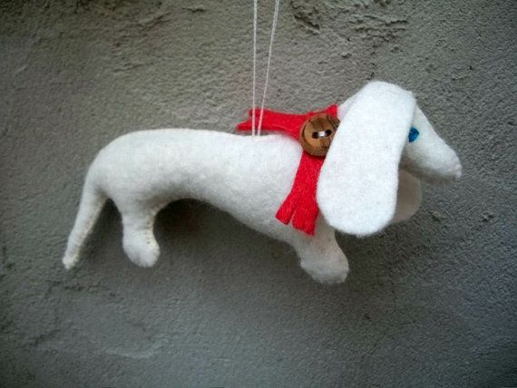 SALE/Miniature Dachshund in White Felt Merry by DogBarks on Etsy