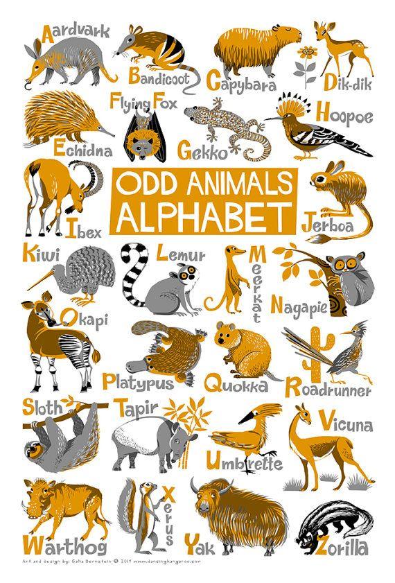 "Odd Animals Alphabet Poster. Limited edition digital print 13"" x 19"""