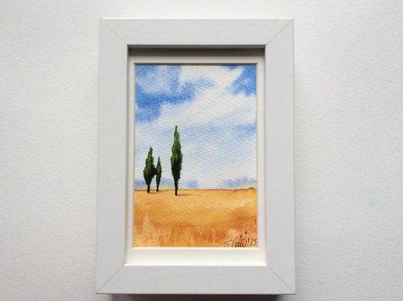Frameable Handpainted Original Watercolor by UNIQUEPOSTCARDS