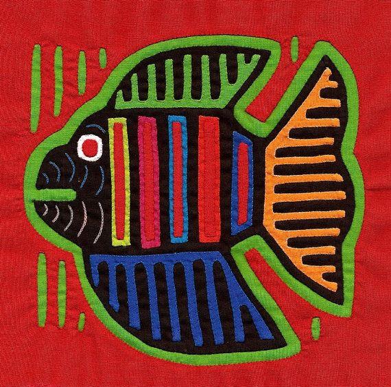 Very Colorful Fish Mola Kuna Indian Reverse Applique by molamama, $17.50