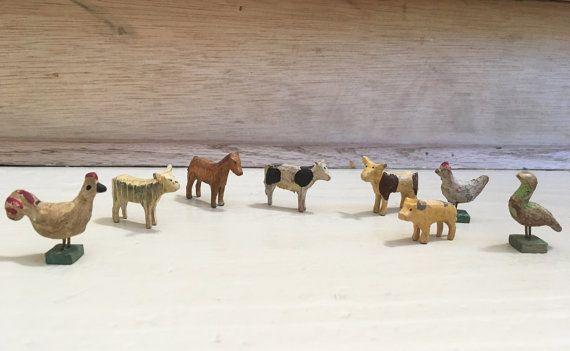 Collection of antique Erzgebirge miniature wooden farm animals and birds, antique wood toys, German folk art