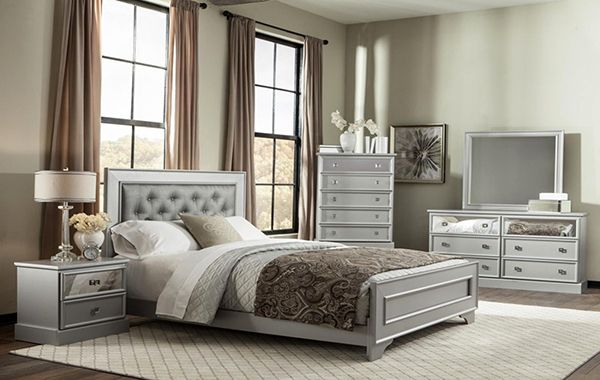 6PC Queen Silver Bedroom Set | Famsa - Furniture, Electronics, Appliances, Mattresses