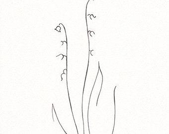 Minimalistische bloem tekening. Zwart-wit ink schets. Lily of the valley lijntekeningen. Originele kunstwerken van bloemen.