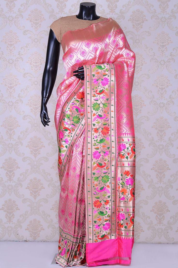 Hot pink splendid paithani saree with multicolor border-SR20570 - Pure Banarasi - PURE HANDLOOM SILK SAREE - Sarees