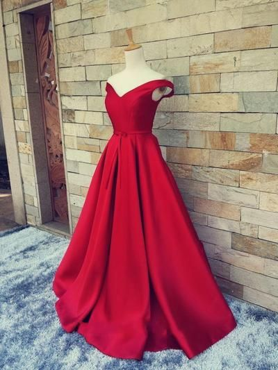 Wine Red Dress, Cap Sleeve, A Line, Long, Satin, & Elegant Dress