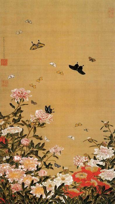 Itō Jakuchū(伊藤若冲 Japanese, 1716-1800)Peony flower & butterflies   芍薬群蝶図 1757ink and color on silk