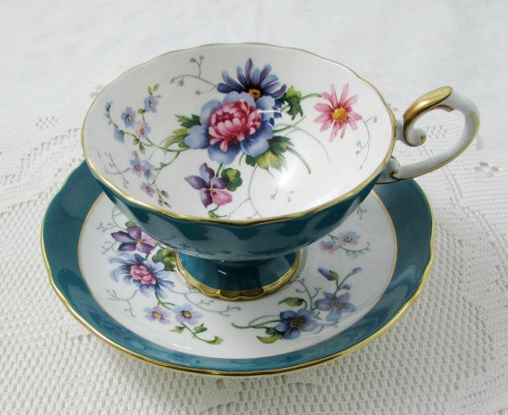 Crown Staffordshire Tea Cup and Saucer, Teal with Flowers, Antique Tea Cup, Bone China